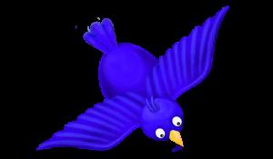 blue bird in mid-flight